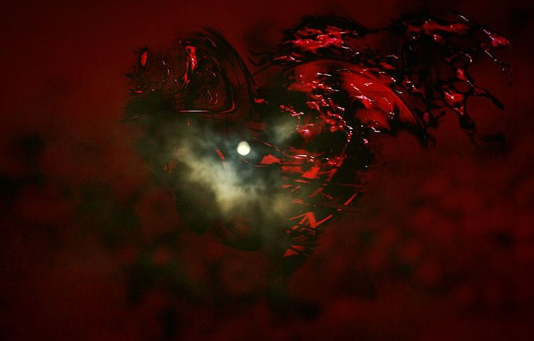 """""""Another twilight in the ruins of a melancholic heart"""" (2018) Lovelorn Broken Hearted Moonlit Clouds Moon And Clouds Graphic Art Graphic Photography Heart Shaped  Heart Heart Broken Heartache Melancholic Photos Cloudy Red Color Dark Art Moodyphotography Loveless"""