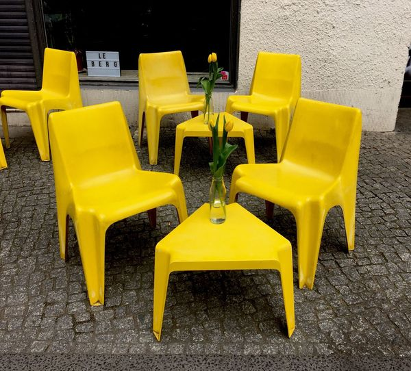 Chairs and yellow chair