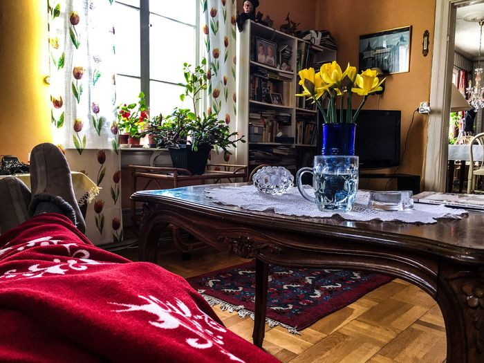 Table Chair Indoors  Home Interior Vase Furniture Living Room Napkin Place Setting Flower Day One Person People Resting Blanket Window Light Slippers Homeinterior Flowers Glass Home Doorway The Week On EyeEm