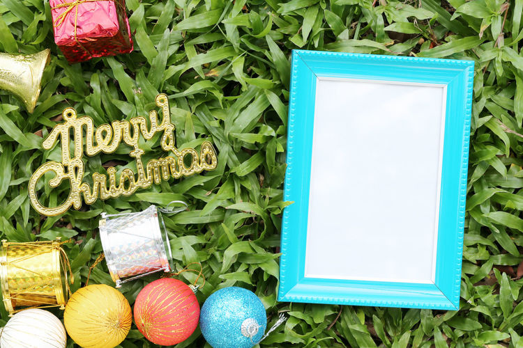 Christmas decoration on a green lawn and have gold text of Merry Christmas,blue empty wooden frame on the floor. Green Color Celebration Plant No People Text Nature Communication Flowering Plant Flower Freshness Egg Easter Egg Food Western Script Easter Decoration Multi Colored Still Life Close-up Outdoors Christmas Decoration Christmas Decorations Green Lawns Green Green Color