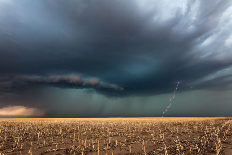 Storm clouds over land