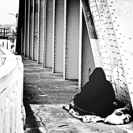 It's cold in the city. Homeless Trainyard Urban Alone