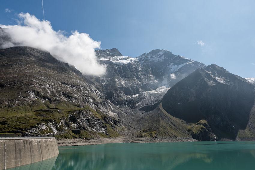 Drossensperre Himmel Hochgebirge Hochgebirgsstausee Hohe Tauern Mooserboden Salzburger Land Stausee Wiesbachhorn Wolken Gebirge Kaprun Talsperre Österreich