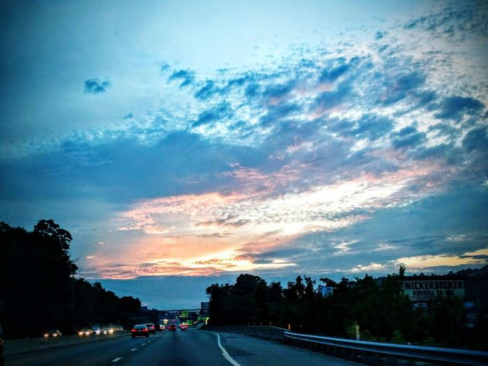 Road The Way Forward Sunset Cloud - Sky Sky Tail Light Diminishing Perspective Cloudy Blue Scenics On The Move Dramatic Sky First Eyeem Photo