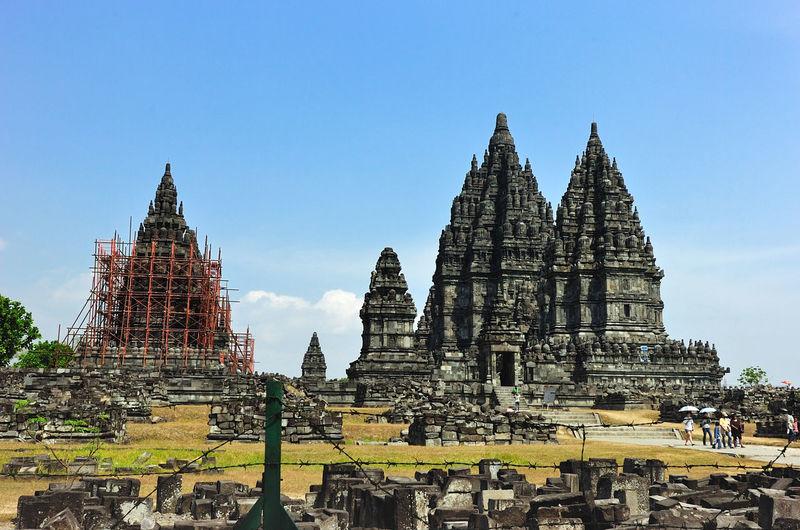 Prambanan temple against sky on sunny day