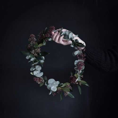 Wreath Fragility Black Background Flower Beauty In Nature Christmas Decorations Nature In The Home Lifestyle Photography Flowers, Nature And Beauty Christmas Time Human Hand Decoration Low Key