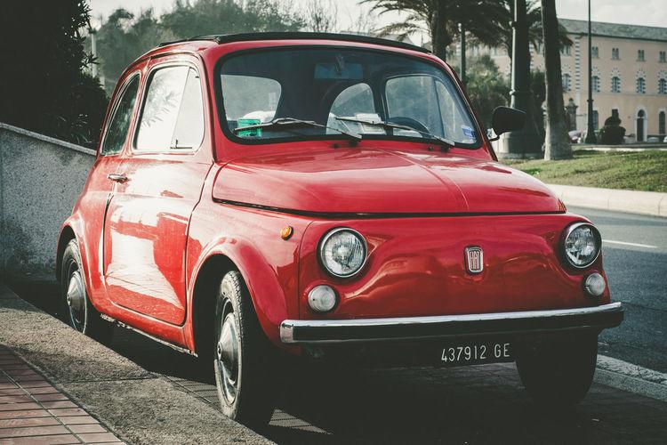 Fiat Genova Typical Car Classiccar Cutecar Day Daylight Fiat500 Genua Italy Nopeople Oldtimer Redcar