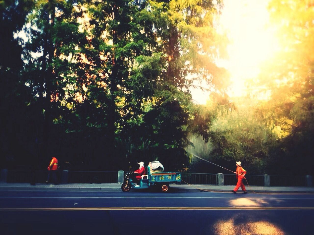 tree, real people, transportation, road, men, growth, sunlight, outdoors, day, land vehicle, nature, firefighter, water, fire engine, sky, people