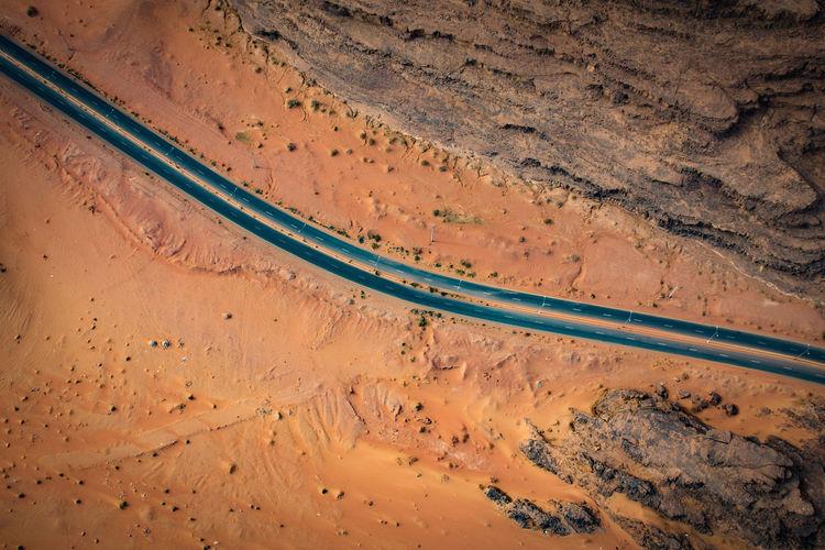 Close-up of road through desert