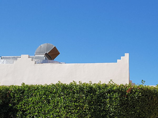 Architectural minimalismn Minimalistic Architecture No Edit/no Filter EyeEm Selects Architectural Feature Architectural Detail Blue Blue Sky Against Blue Sky Hedge White Building Day Outdoors Architecture Basketball - Sport Built Structure Building Exterior No People EyeEm Ready