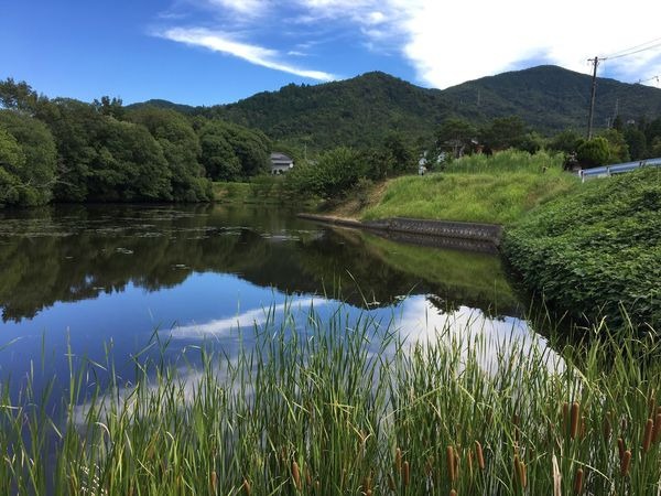 Subject : A Beautiful Pond and the Mountains behind It. Reflection Mountain Tree Nature Tranquil Scene Scenics Pond Water Beauty In Nature No People Grass Green Color Mountain Range Plant Growth Sky Day Outdoors . Taken at Kurose in Higashi-Hiroshima , Japan on Aug. 13, 2017 ( Submitted on Aug. 21, 2017 )
