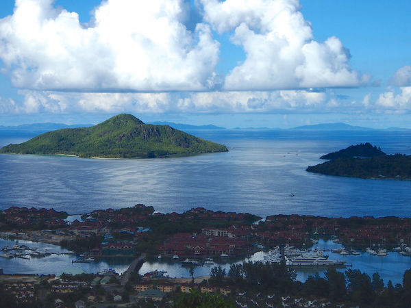 Beauty In Nature Cloud - Sky Day Horizon Over Water Mountain Nature No People Outdoors Scenics Sea Seychelles Sky Tranquil Scene Tranquility Travel Destinations Tree Water Seychelles Islands EyeEm Seychelles Boat