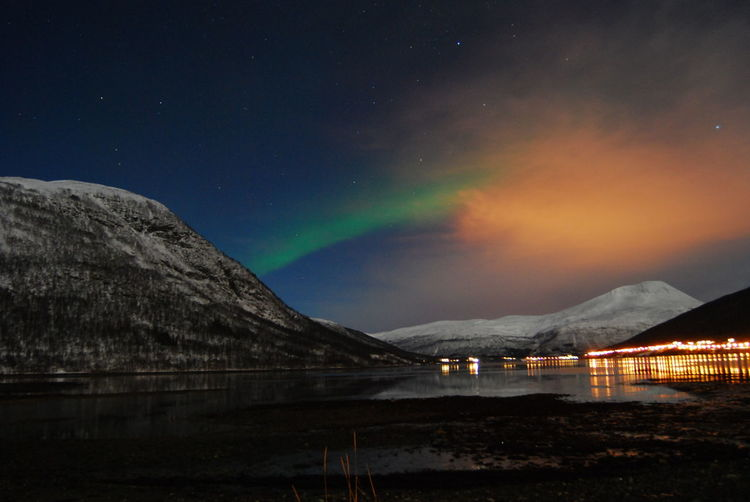 Aurora Borealis Northern Lights Norway Astronomy Beauty In Nature Galaxy Illuminated Landscape Mountain Mountain Range Nature Night No People Outdoors Scenics Sky Snow Star - Space Tranquil Scene Tranquility Water