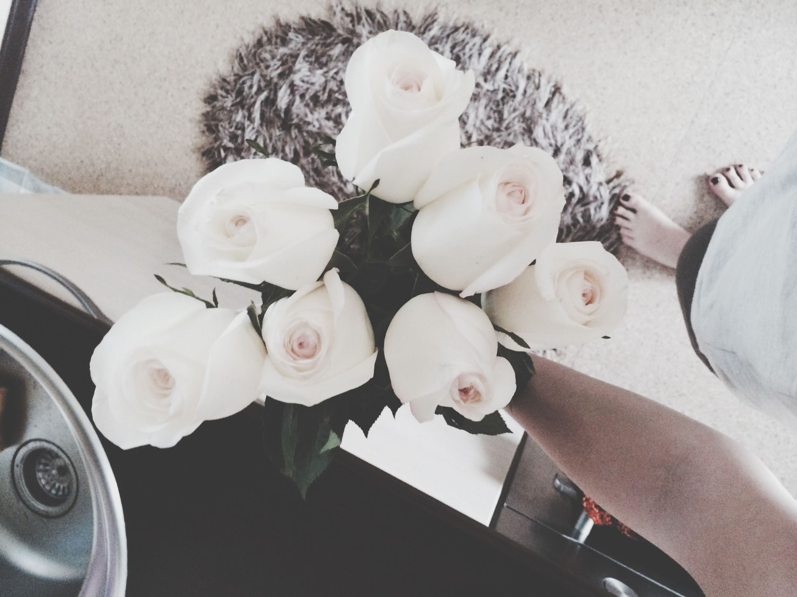 indoors, flower, high angle view, freshness, table, variation, still life, white color, vase, bouquet, fragility, petal, close-up, choice, arrangement, no people, directly above, flower arrangement, large group of objects, toy