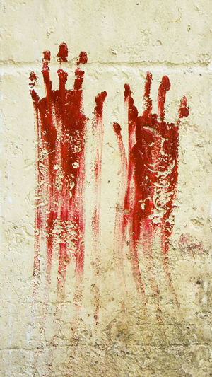 Blood red paint hand prints on a wall in Puerto Escondido, Mexico Aggression  Backgrounds Blood Close-up Crime Dirt Fear Fingerprint Full Frame Handprint Horror Human Blood No People Red Social Issues Stained Textured  Violence Wall - Building Feature