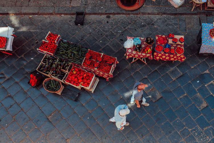 Catania Market Sicily Birds Eye View Cobblestone Day Food High Angle View Italy Large Group Of Objects Market Stall Outdoors Pattern Pavement People Walking  Real People Real People Photography Sidewalk Street Tomatoes