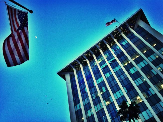 Los Angeles, California EEUU  USA FLAG Sky
