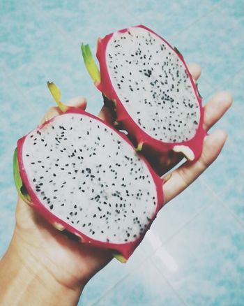 Human Hand Human Body Part Holding One Person Fruit Food And Drink Healthy Eating Pitaya Personal Perspective Healthy Lifestyle Freshness Human Finger People Lifestyles Food Chia Seed SLICE Adult Women Only Women