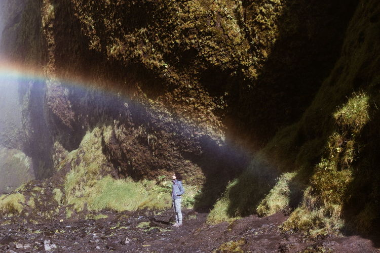 Rainbow Skogafoss Rock Formation Iceland Girl One Person Water Spraying Streaming Plant Life Eroded Be Brave A New Beginning Capture Tomorrow