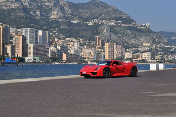 Mountain Architecture Built Structure Building Exterior Transportation No People Day Sea Outdoors Red Cityscape Waterfront Luxury Monaco View Car Hypercar City Nature Porsche Porsche 918 Spyder Supercar Exceptional Photographs EyeEm Gallery in Monaco Côte D'Azur