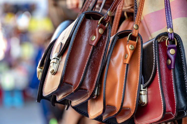 Close-Up Of Sling Bags For Sale At Market