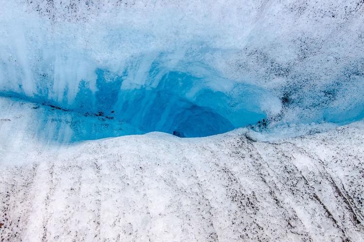 High angle view of crevasse on glacier