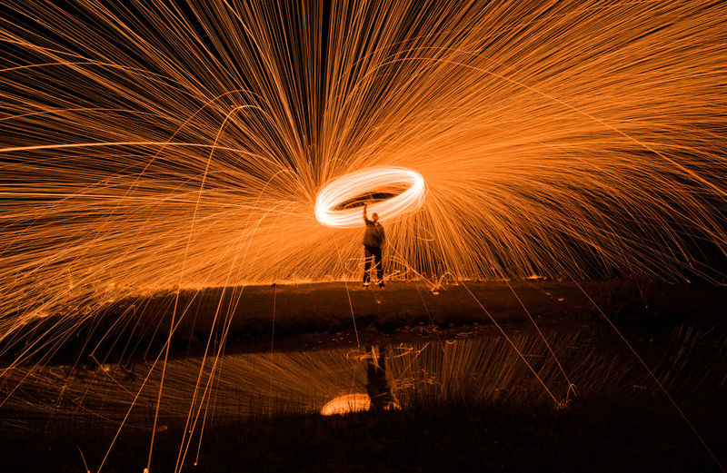 Adult Adults Only Blurred Motion Burning Dancing Danger Fire Alarm Fireball Firework Display Full Length Glowing Heat - Temperature Illuminated Long Exposure Men Motion Night One Man Only One Person Skill  Sparkler Spinning Swirl Vitality Wire Wool