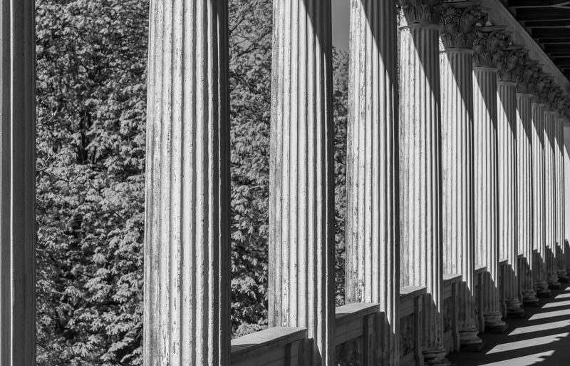 Black And White Black & White Famous Place Historic Historical Building Historic Building Belvedere Pfingstberg Colonnade Pillars Pillar Light And Shadow Architecture Built Structure No People Tree Day In A Row Plant Nature Pattern Window Building Exterior Outdoors Architectural Column Building Repetition Sunlight Close-up Growth Striped