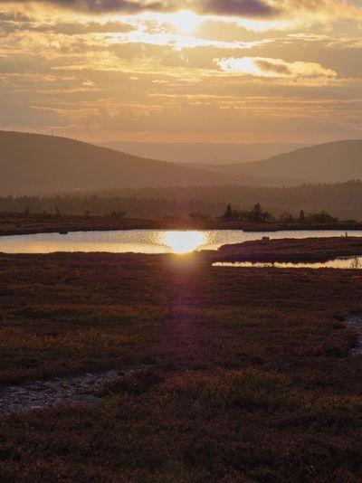 Sunset hike Hiking Trail Hiking Moutains Solitude Scandinavia Sweden Sälen Sky Sunset Scenics - Nature Beauty In Nature Sun Tranquility Cloud - Sky Tranquil Scene Sunlight Nature Reflection Idyllic Landscape Environment No People Sunbeam Outdoors
