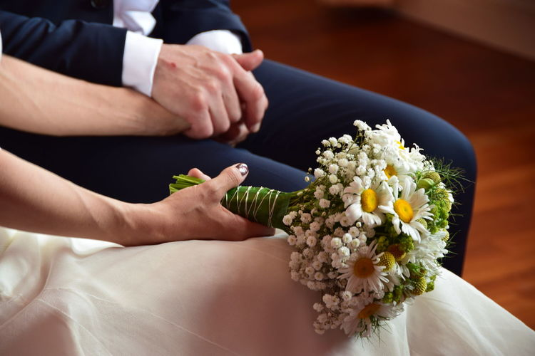 Adult Bouquet Flower Flower Arrangement Flower Head Flowering Plant Freshness Hand Holding Human Body Part Human Hand Indoors  Men Midsection Nature People Plant Real People Wedding Wedding Ceremony White Color Women My Best Photo
