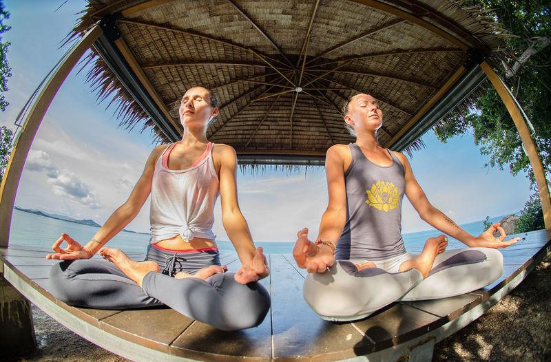 Yoga. The woman