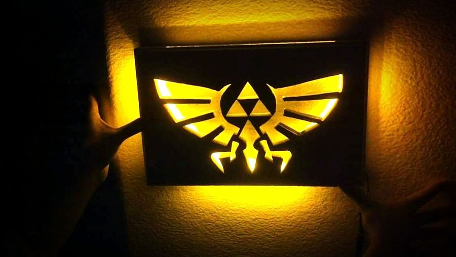 Zelda Light Box Hobby, Wood, Carving, Led, Bright, Game, Logo, Fun
