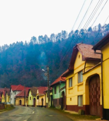 Building Exterior Built Structure Architecture House Street Village Village Life Recreational Pursuit Residential Building No People Tree Street Light Day Yellow Sky City Fog Nature