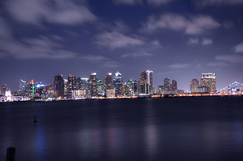 San diego city skyline with bay reflection at night
