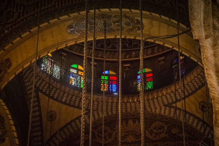 Low Angle View Of Stained Glass At Mosque