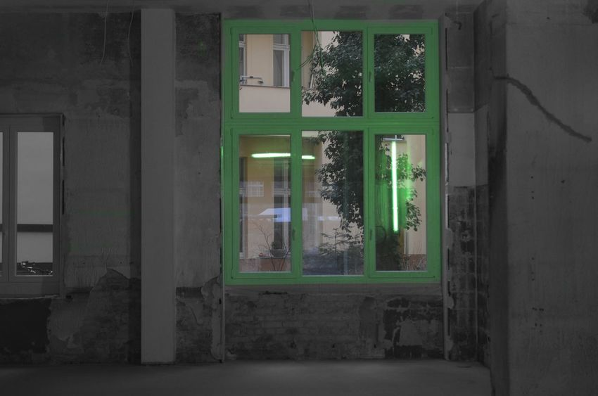 Bnw_friday_eyeemchallenge Bnw_collection Blackandwhite Travel Destinations Nightview Nightphotography Behind The Window Green Glass Indoors  No People Architecture Green Color Window Blackwhitecolour Reflection Reflection Photography Windowreflections Neon Lights
