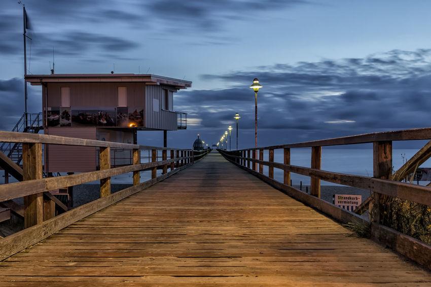 Seebrücke auf Usedom zur blauen Stunde Baltic Sea Holiday Ostsee Seebrücke Sonnenaufgang Strand Urlaub Zinnowitz Beach Koserow Summer Sunrise Sunset Usedom