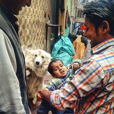 An Indian man pushes a reluctant child towards a dog while playing in the old quarters of Delhi, India. Everydayeverywhere Everydayindia Dailylife Photojournalism Journalism Reportage Reportagespotlight Indiaphotoproject Dfordelhi Sodelhi DelhiGram Onepluslife Oneplus2 Myfeatureshoot Delhi Newdelhi ASIA India