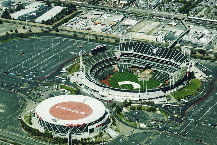 Oakland Raiders Football Stadium Oracle Stadium NFL Football View From Above