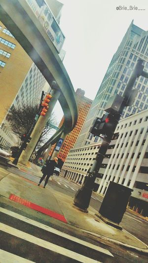 Downtown Detroit People Mover Pedestrian Crossing Buildings & Sky Beautiful Day Driving Around Busy Day Street_lights Good Afternoon Nice Weather Sunny Day Wednesday Trees