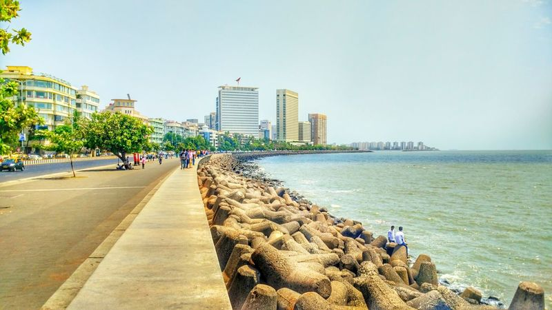 Arabian Sea Built Structure Churchgate City City Life Cityscape Day Lifestyles Marine Drive,mumbai Outdoors Sky The Way Forward Tourism Tourist The Great Outdoor With Adobe