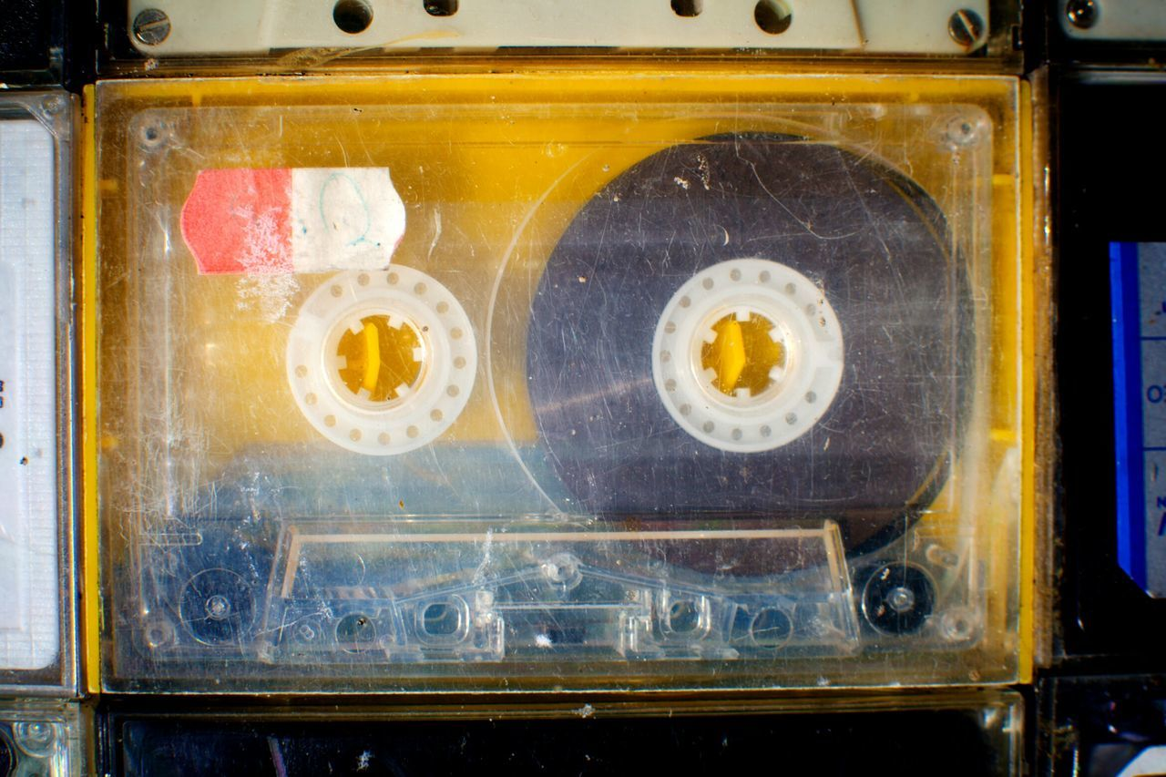 Close-Up Of Old-Fashioned Audio Cassette
