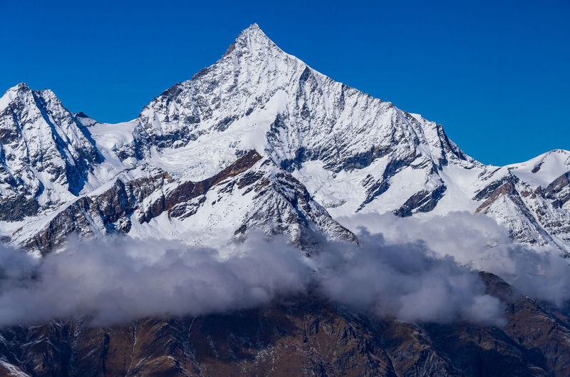 Scenic view of snowcapped mountains against clear blue sky - weisshorn