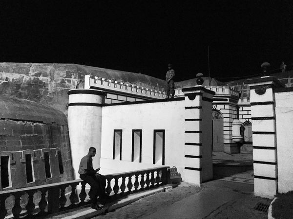 Copacabana Fort Copacabana Rio Rio De Janeiro Riodejaneiro Fort Fortress Night Darkness And Light Blackandwhite Black And White People People And Places Monochrome Photography