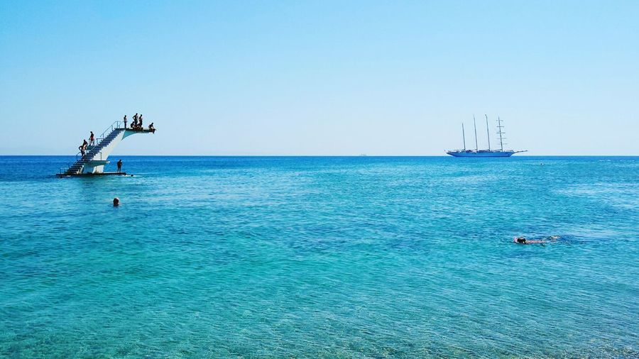Horizon Blue Ship Jumping Into Water Jumping Ship On The Horizon Ship On The Water Sea Sea View Fun Reflections Colouful Water Summer Holidays Diving Swimming Adventure Club People And Places Minimalist Architecture
