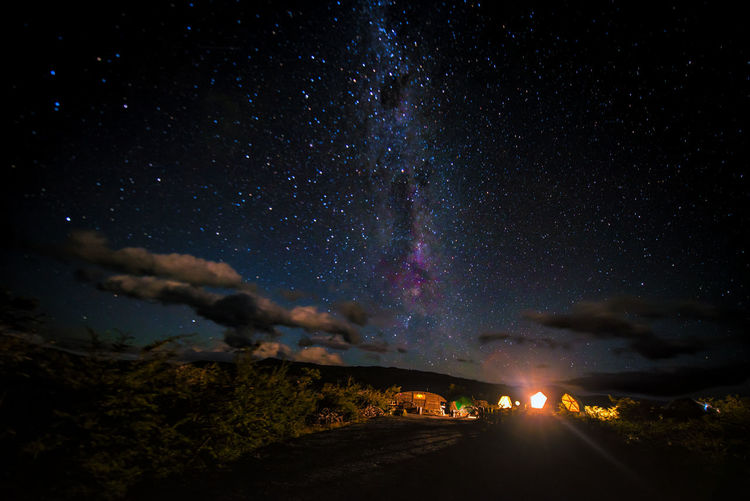 Astronomy Beauty In Nature Galaxy Illuminated Milky Way Motion Nature Night No People Non-urban Scene Outdoors Power In Nature Road Scenics - Nature Sky Space Star Star - Space Tranquil Scene Tranquility Transportation