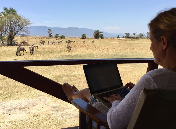 I am script writing for kids TV in a safari camp close to Lake Manyara, Tanzania. Make your work worth doing! Beige Zebra Safari Animals Safari Camp Moments Wildlife Living Tanzania EyeEm Nature Lover Hmmkidztv One Person Sky Nature Real People Sunlight Plant Going Remote Clear Sky Rear View Land Tree Landscape Field Day Adult Sitting Leisure Activity Mammal Outdoors Modern Hospitality The Great Outdoors - 2018 EyeEm Awards The Photojournalist - 2018 EyeEm Awards The Traveler - 2018 EyeEm Awards Creative Space