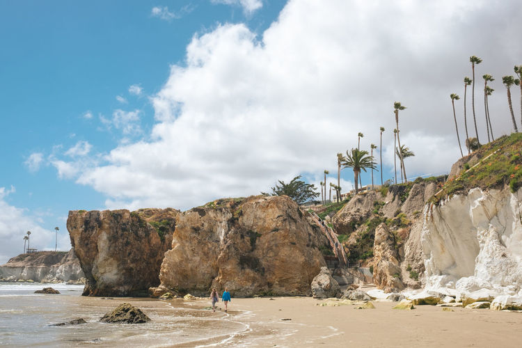 Beach Beach Day Beach Life California Cloud - Sky Coastal Feature Coastline Day Nature Outdoors Palm Tree Real People Rock - Object Sea Sky Summertime Tourism Travel Travel Destinations USAtrip Vacations