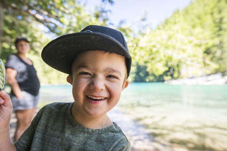 Portrait of smiling boy in water