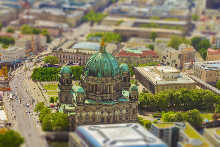 Aerial View Tilt Shift Top View Miniature Museum Cityscape Historic Landmark Attraction Landscape Panorama City Germany Europe Aerial Church Religion Monument Dom Island Berlin History Urban Architecture Protestant Old Capital Famous Touristic European  German Above View Dome Culture Travel Berliner Cathedral Sightseeing Tourism Skyline Town Building Mitte Museum Island Street Car People